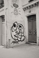 graffiti by door Paris vintage