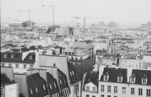 Paris from Pompidou bw vintage