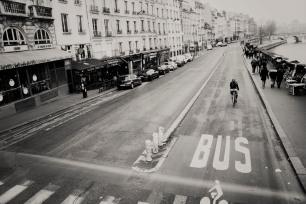 Paris street by Seine vintage